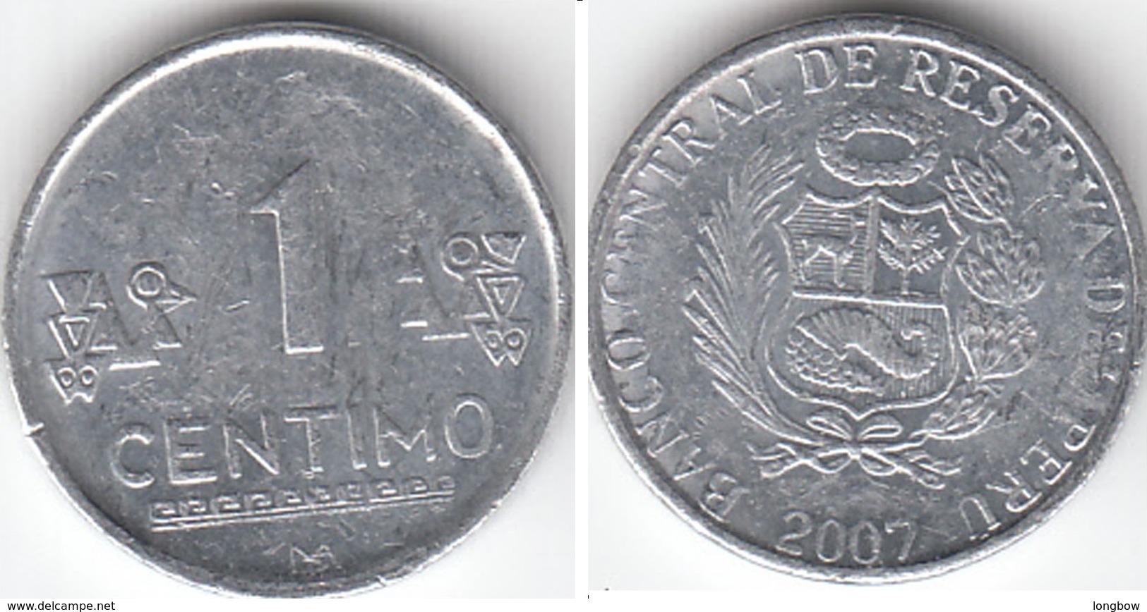 Perù 1 Centimo 2007 Nuevo Sol KM#303.4a - Used - Perú