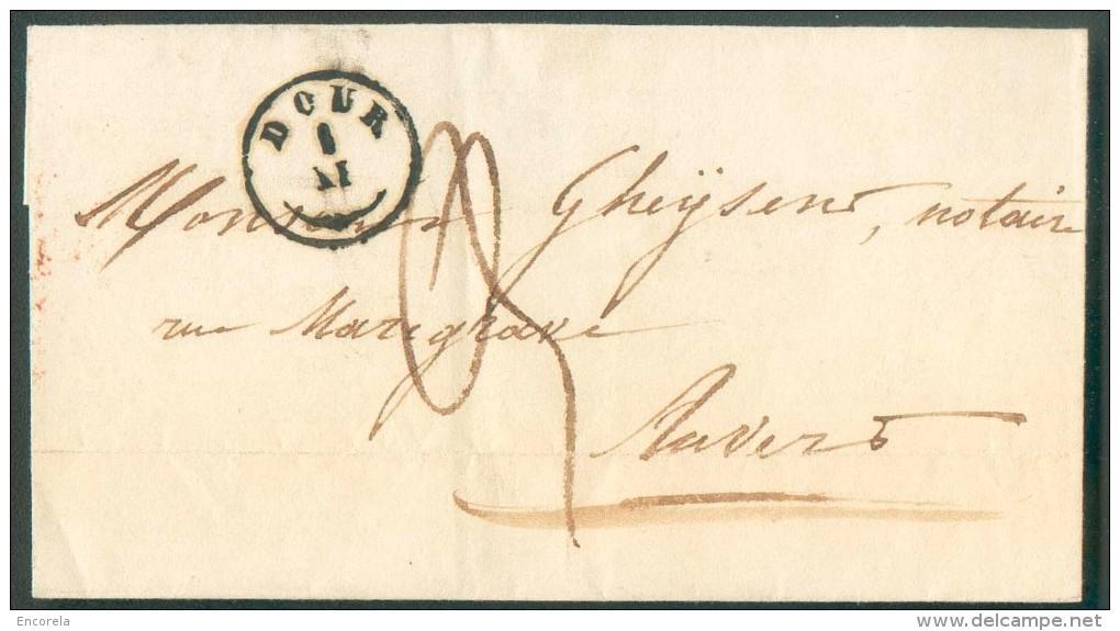 LAC De DOUR (type 18) Le 1-IX 1849 Vers Anvers. Port '3' Décimes. - 9975 - 1830-1849 (Belgique Indépendante)