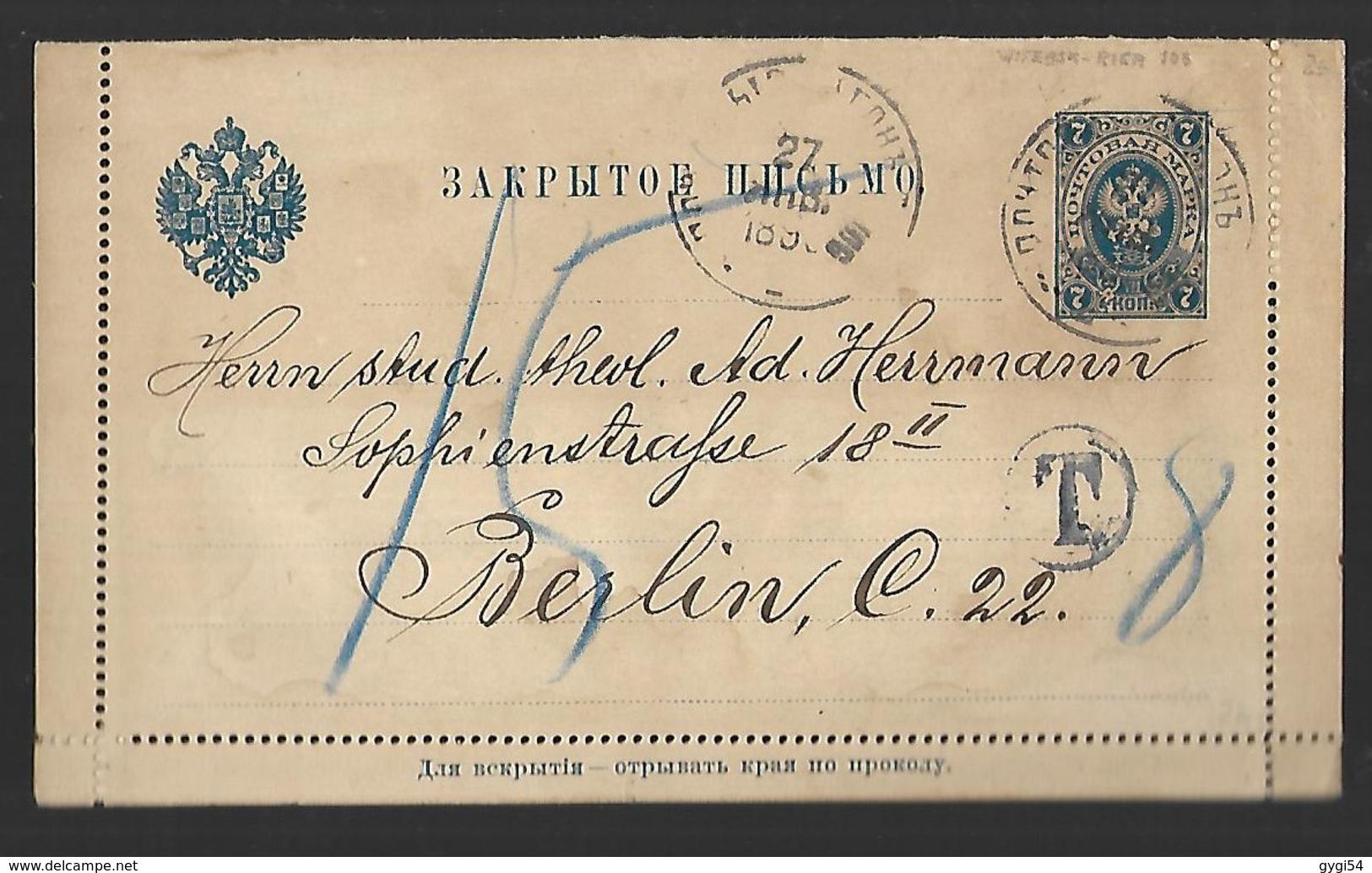 Russie Entier Postal Sur Carte Lettre Taxée   DU 27  JUIN 1898 - 1857-1916 Empire