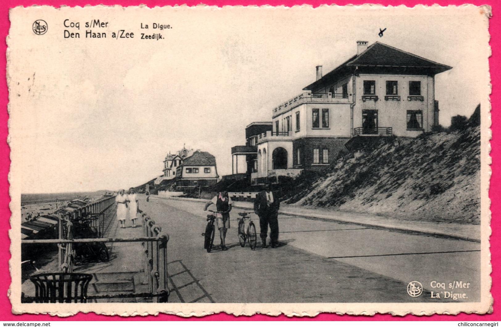 Cp Dentelée - Coq Sur Mer - De Haan - La Digue - Zeedijk - Bicyclette - Animée - NELS - THILL - 1953 - De Haan
