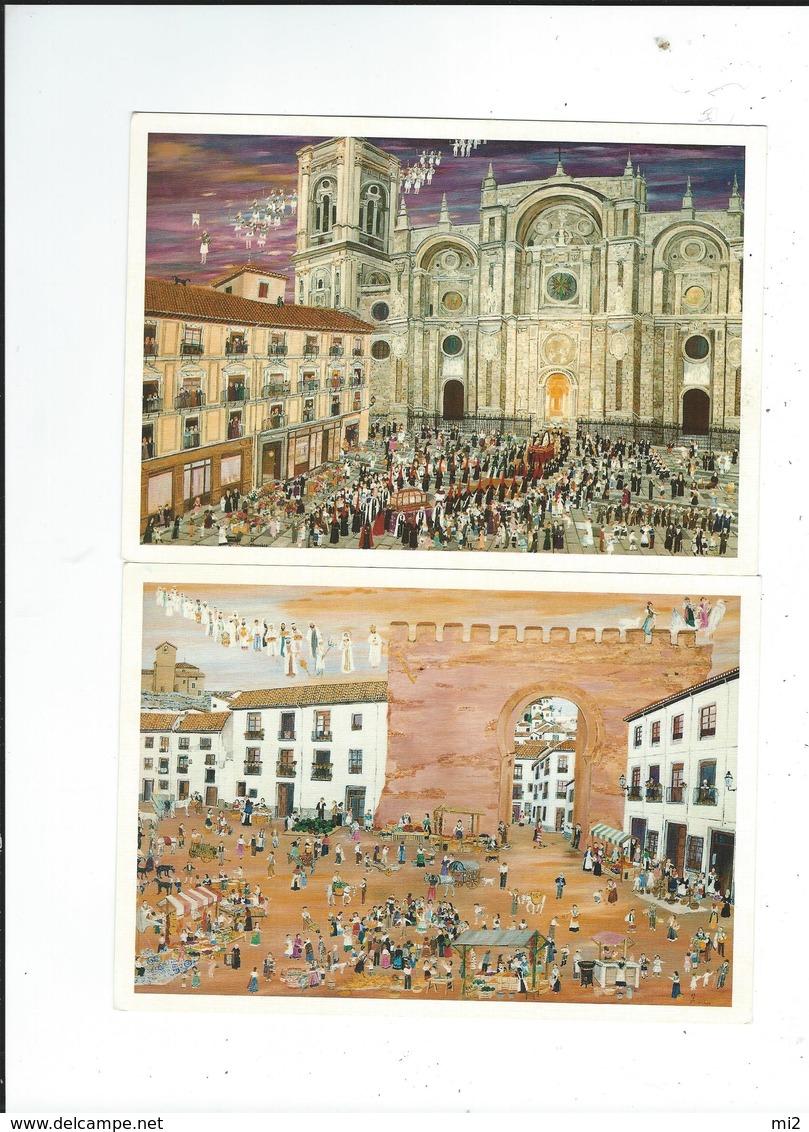 Espagne Plazas De Granada Lot 4 Cartes Illustrateur Maripi Morales  Carte  Présentées  Dans Feuille Tout Scanné - Granada