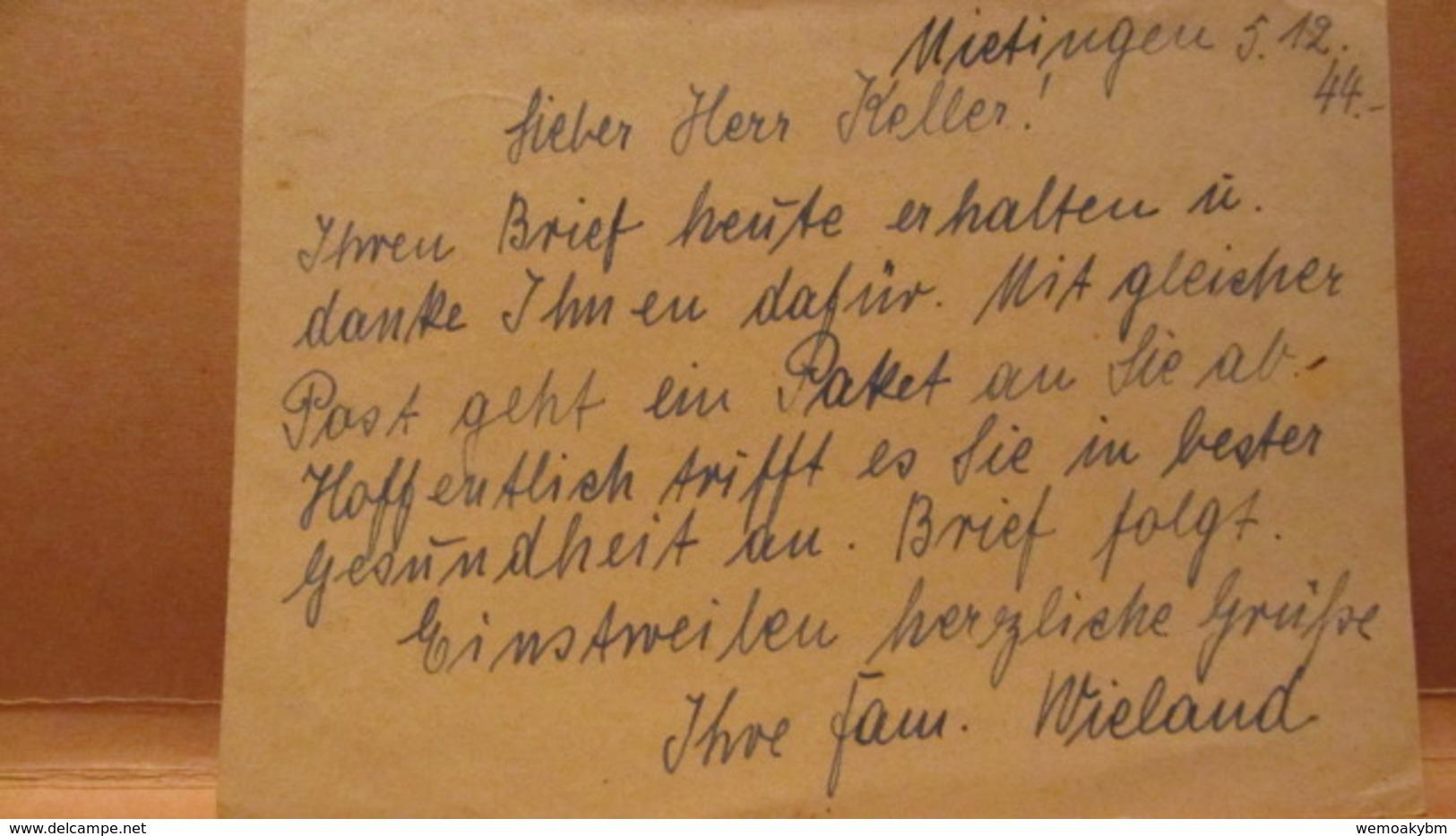 DR: GA P 297 Gest. Goldschmiedekunst OSt. Mietingen üb. Laupheim Vom 06.12.44 Nach Dresden - Briefe U. Dokumente