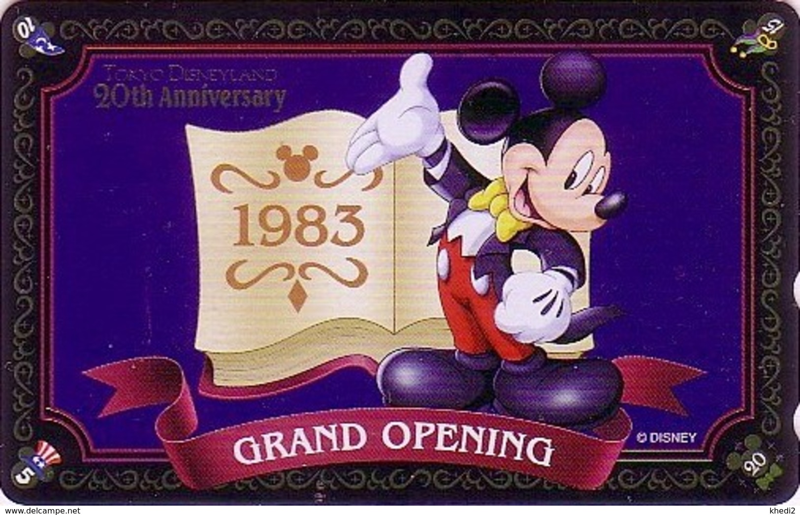 Télécarte Brillante NEUVE Japon / MF-1001662 - DISNEY DISNEYLAND - MICKEY * GRAND OPENING 1983 * - Japan MINT Phonecard - Disney