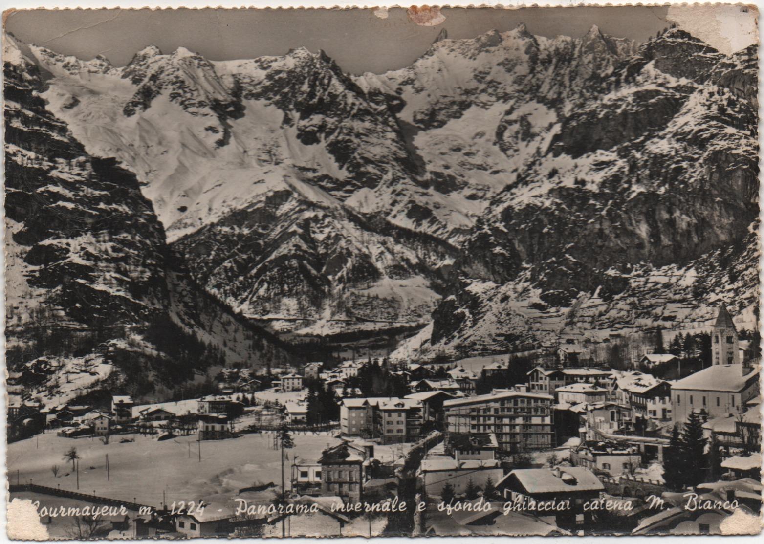 Courmayeur (Aosta): Panorama Invernale E Sfondo Ghiacciai Monte Bianco. Viaggiata 1961 - Italy