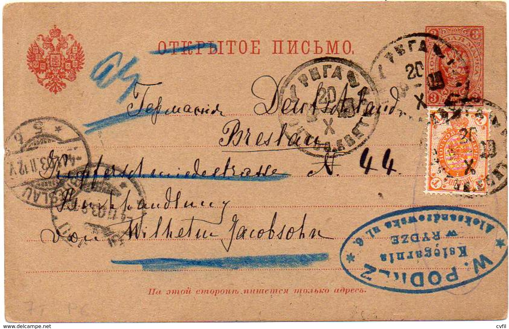 RUSSIA 1903 - Entire Postal Card Of 3 Kopecs With Additional Postage, From Riga To Breslau, Germany - Briefe U. Dokumente