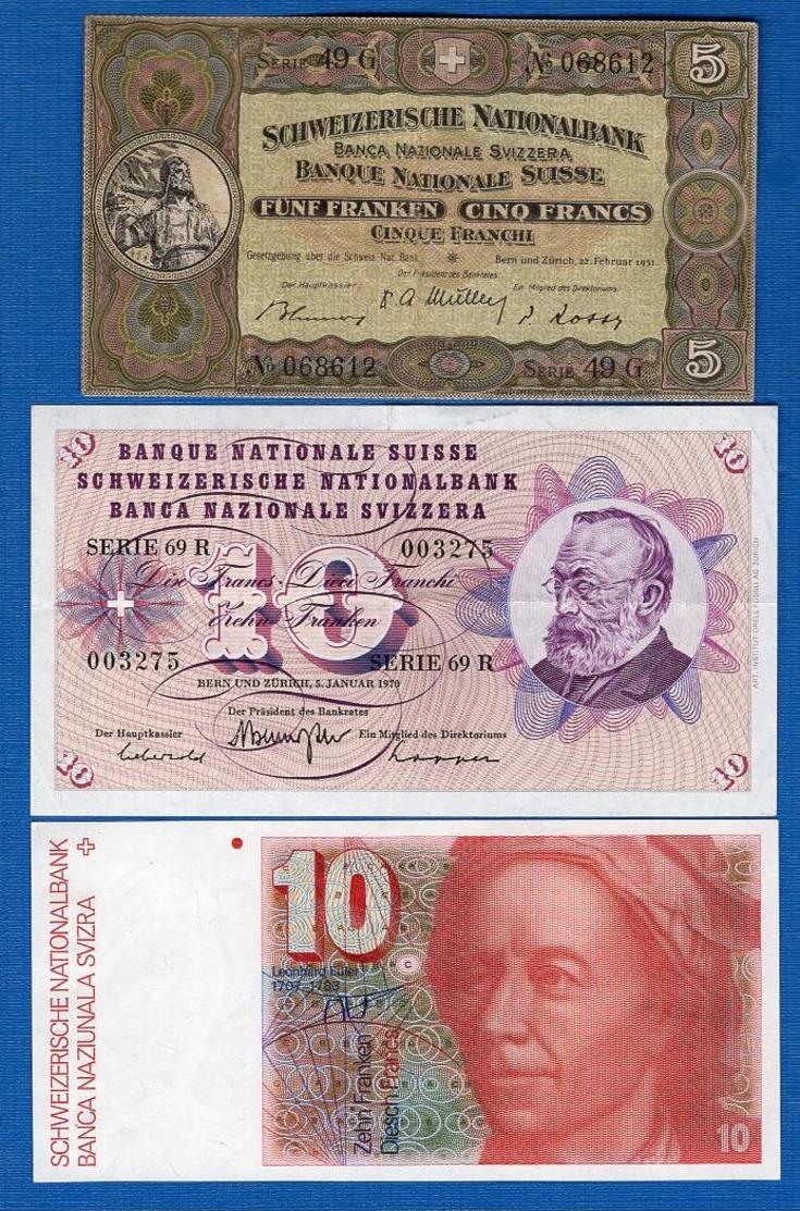 Suisse  3  Billets - Svizzera