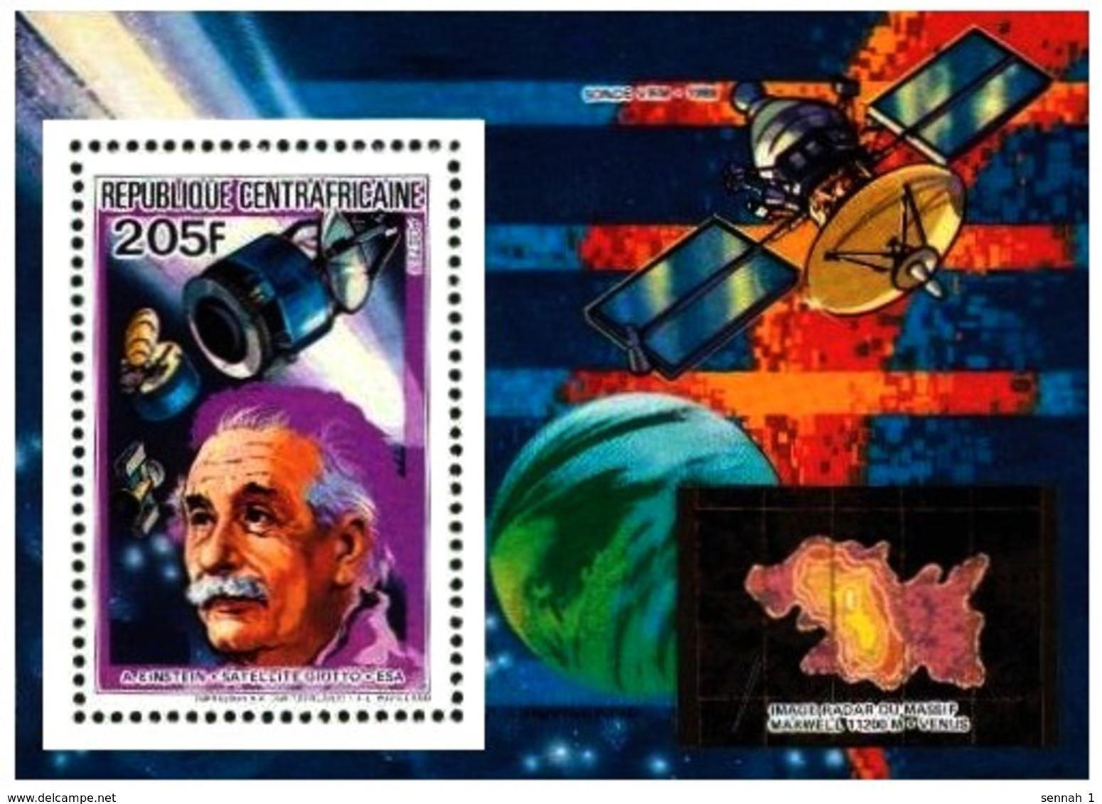 Zentralafrika / Centrafricaine: 'Albert Einstein, 1984' / 'Space Probe - Venus', Mi. BL 287 A; Yv. 633; Sc. 660 ** - Space