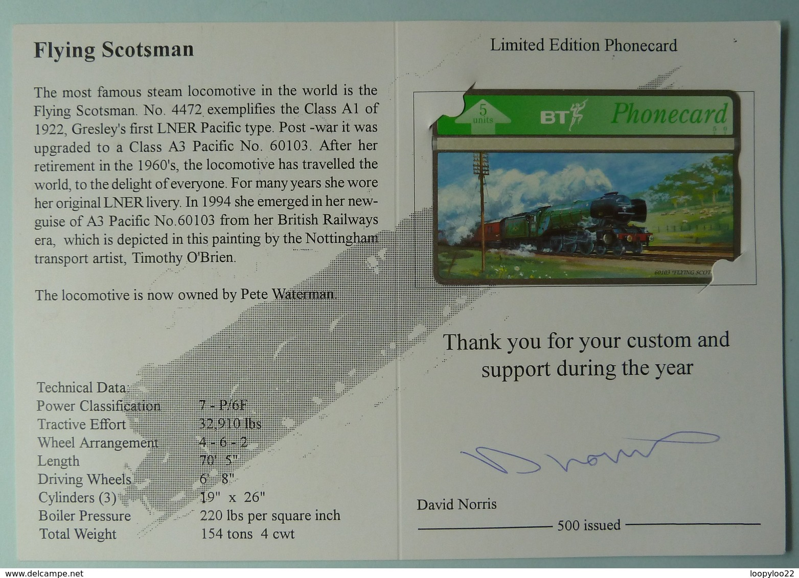 UK - BT - BTG446 - Flying Scotsman - DHN Phonecards - Limited Edition 500ex - Mint In Folder - BT General Issues