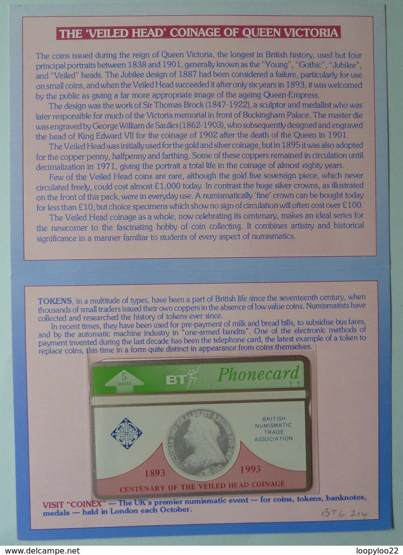 UK - BT - BTG214 - Centenary Of The Veiled Head Coinage - Coinex 1993 - Limited Edition - Mint In Folder - BT General Issues