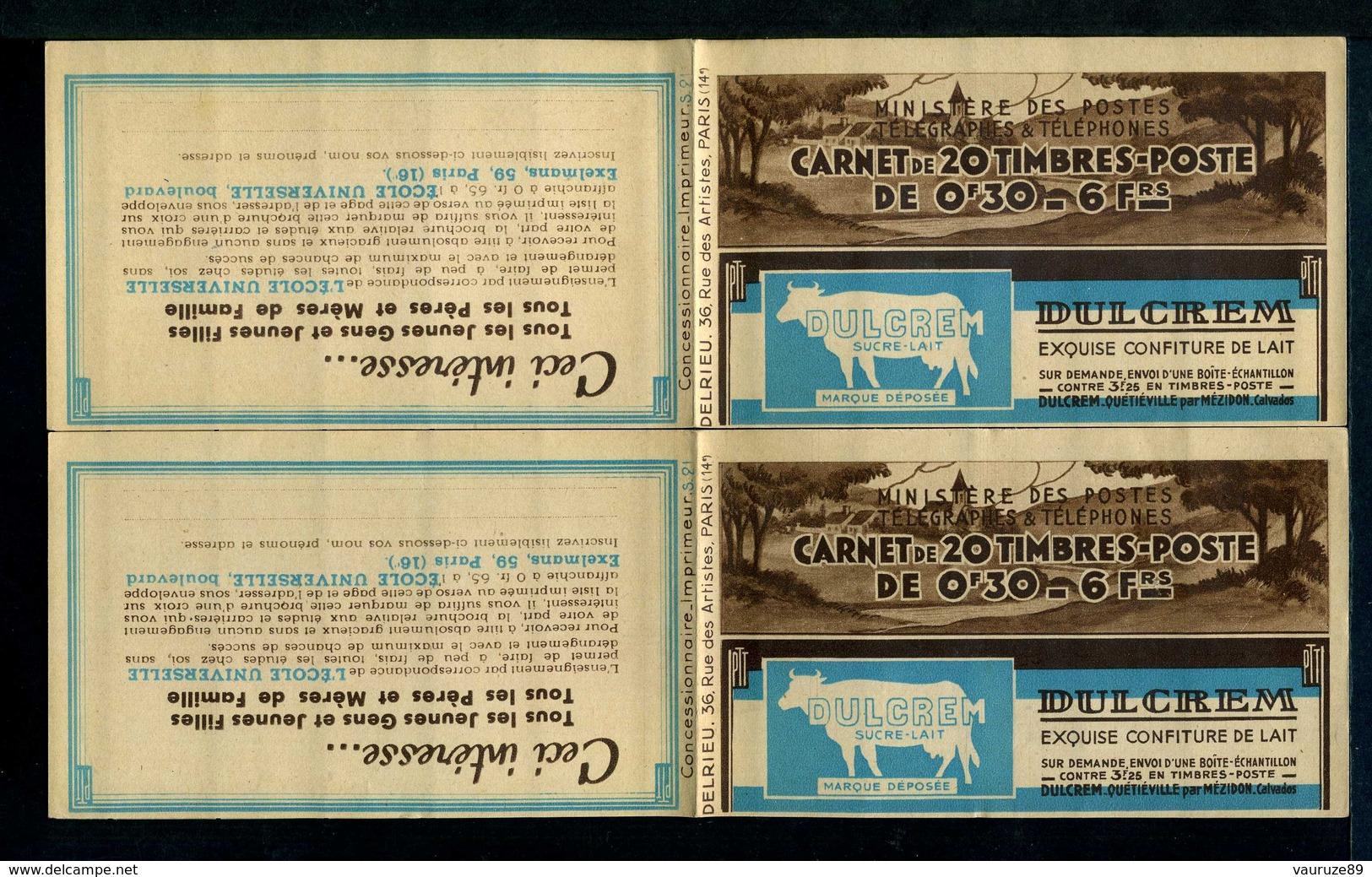 Carnet Semeuse 360-C1 - SUITE De 2 Carnets Même Date Et Numéro à Suivre. - Carnets