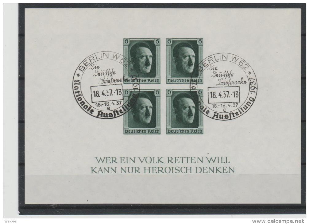 DSP133d / Block 8, Gestempelt Nat. Ausstellung Berlin 18.4.1937   O - Blocks & Kleinbögen