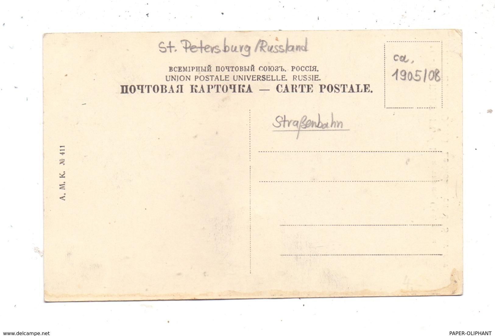 RU 190000 SANKT PETERSBURG, Denkmal Von Souvorov, Strassenbahn / Tram, Kutschen / Coaches, Ca. 1905 - Russland