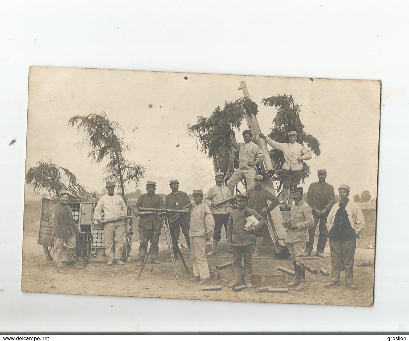 CHANTEHEUX (54) CARTE PHOTO AVEC MILITAIRES FRANCAIS ET OLYMPE MITRAILLEUSE A  TAUBES (AVIONS ALLEMANDS) 1915 - Sonstige Gemeinden