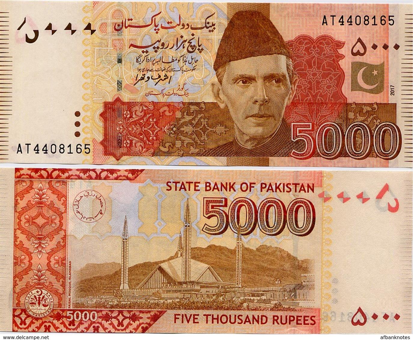 PAKISTAN        5000 Rupees        P-51j       2017        UNC  [sign. Ashraf M. Wathra] - Pakistan