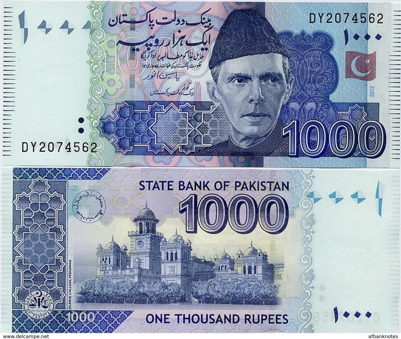 PAKISTAN        1000 Rupees        P-50g       2012       UNC  [sign. Yaseen Anwar] - Pakistan
