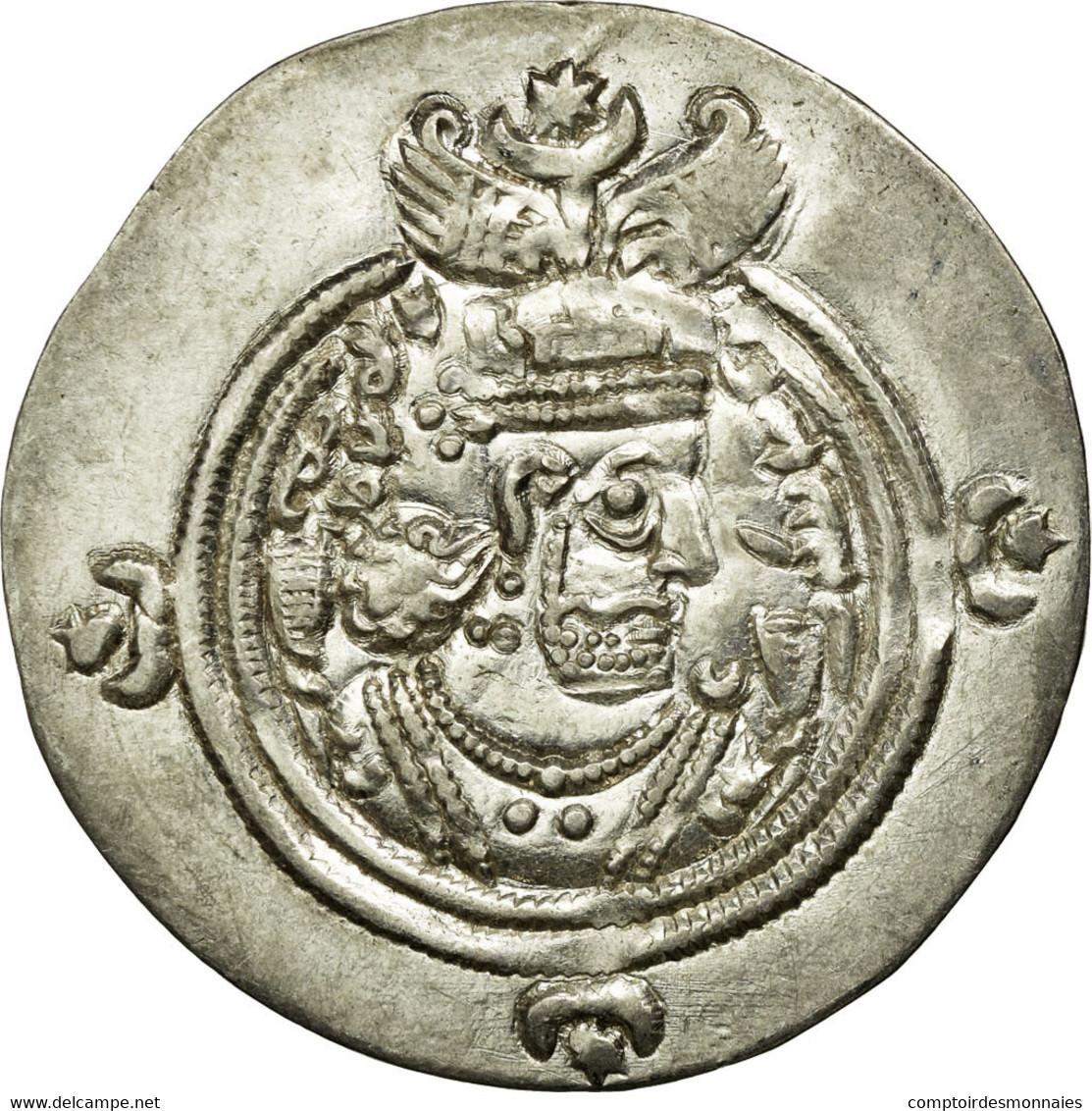 Monnaie, Royaume Sassanide, Chosroès II, Drachme, Darabgird, SUP, Argent - Orientales