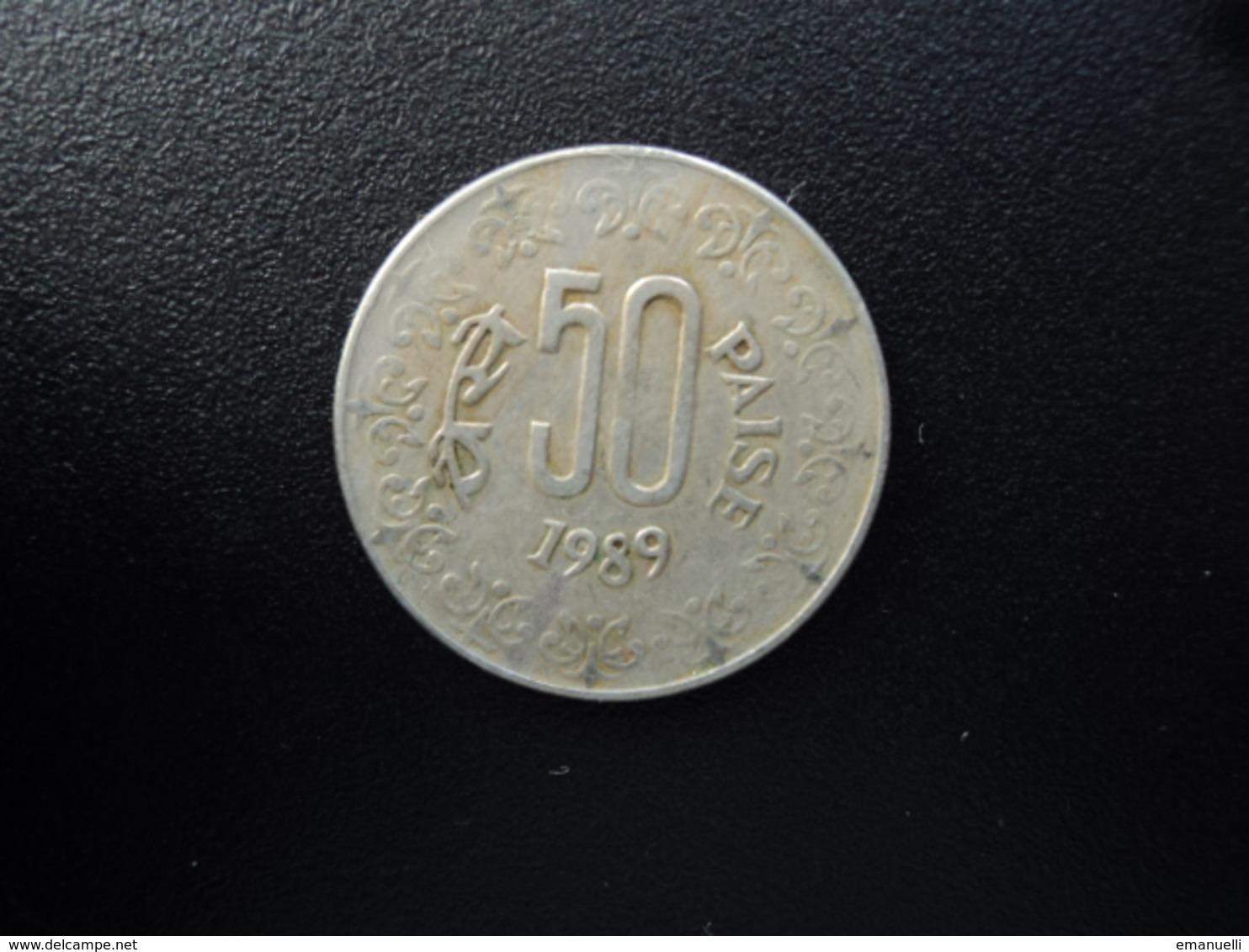 INDE :  50 PAISE  1989 (C)  KM 65    TB+ - Inde