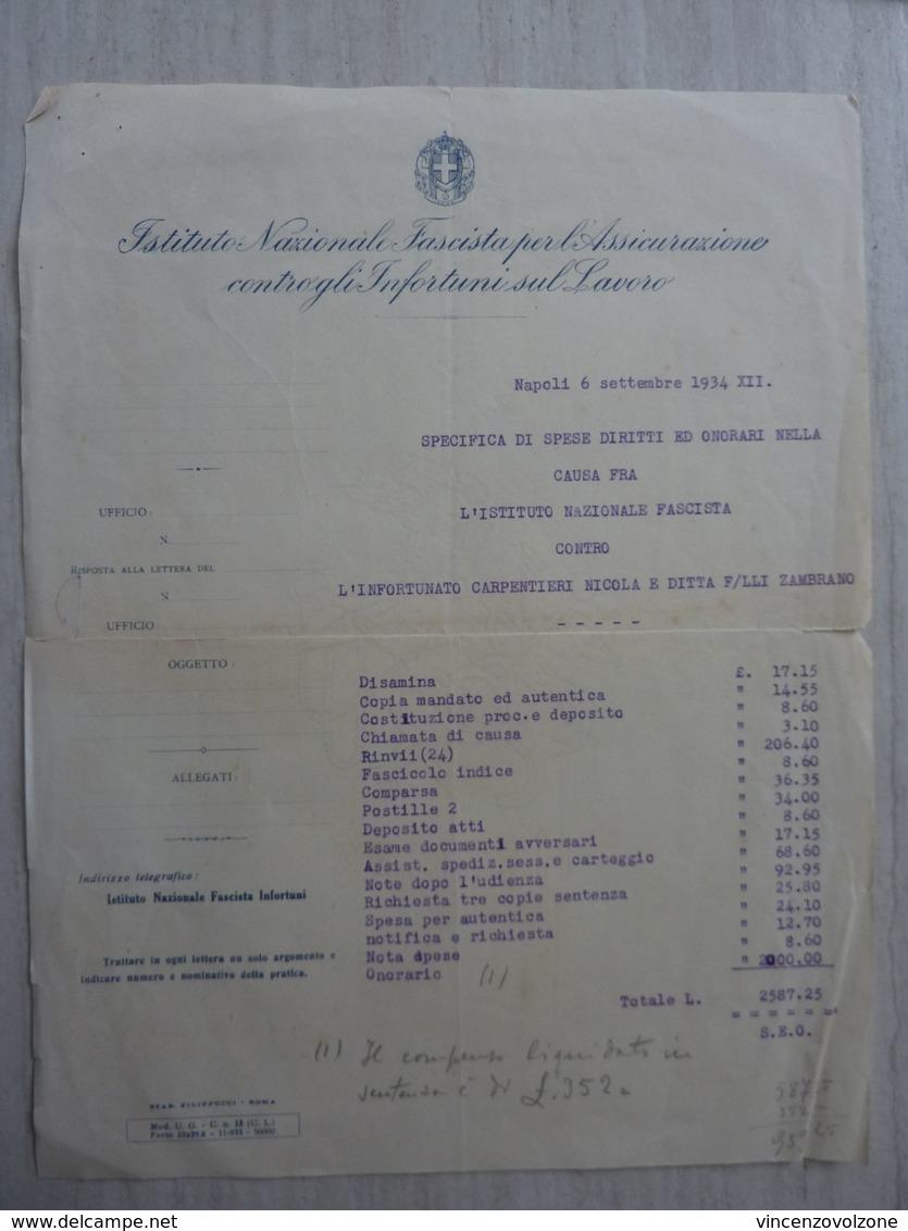 """""""ISTITUTO NAZIONALE  FASCISTA  PER L'ASSICURAZIONE CONTRO GLI INFORTUNI SUL LAVORO - ONORARIO CAUSA"""" 1934 - Italia"""