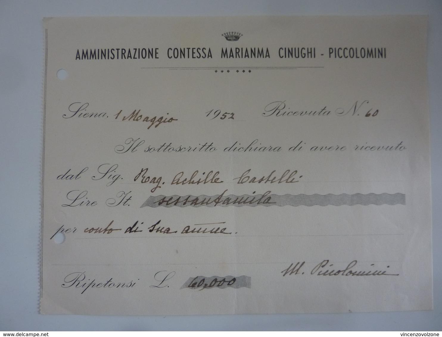 """Ricevuta """"AMMINISTRAZIONE CONTESSA MARIANNA CINUGHI . PICCOLOMINI SIENA"""" 1 Maggio 1952 - Italia"""