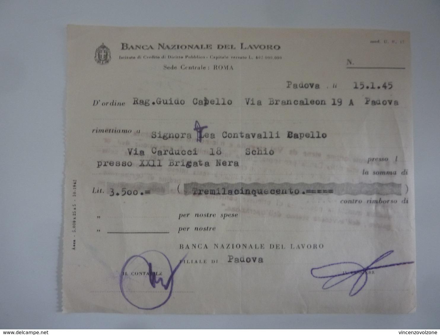 """Ricevuta """"BANCA NAZIONALE DEL LAVORO Filiale Di Padova"""" 15 Gennaio 1945 - Italia"""