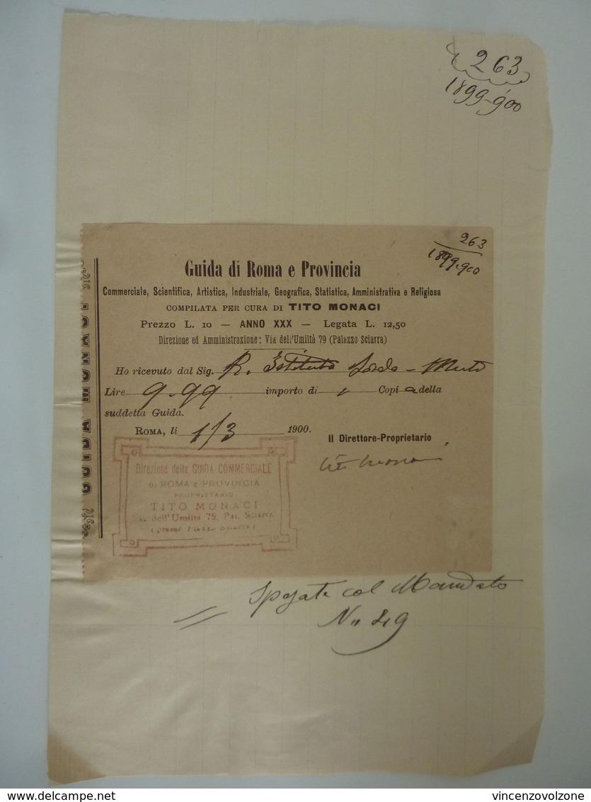 """Ricevuta """"GUIDA DI ROMA E PROVINCIA TITO MONACI"""" Roma 1900 - Italia"""