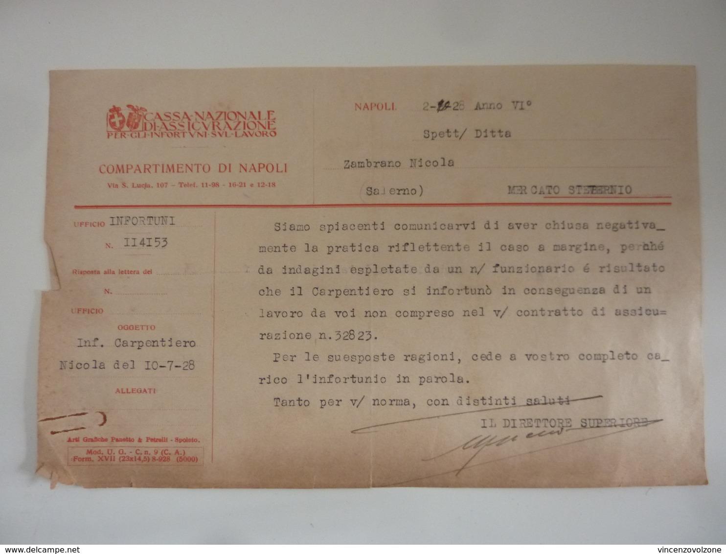 """Lettera """"CASSA NAZIONALE DI ASSICURAZIONI PER GLI INFORTUNI SUL LAVORO COMPARTIMENTO DI NAPOLI"""" 1928 - Italia"""