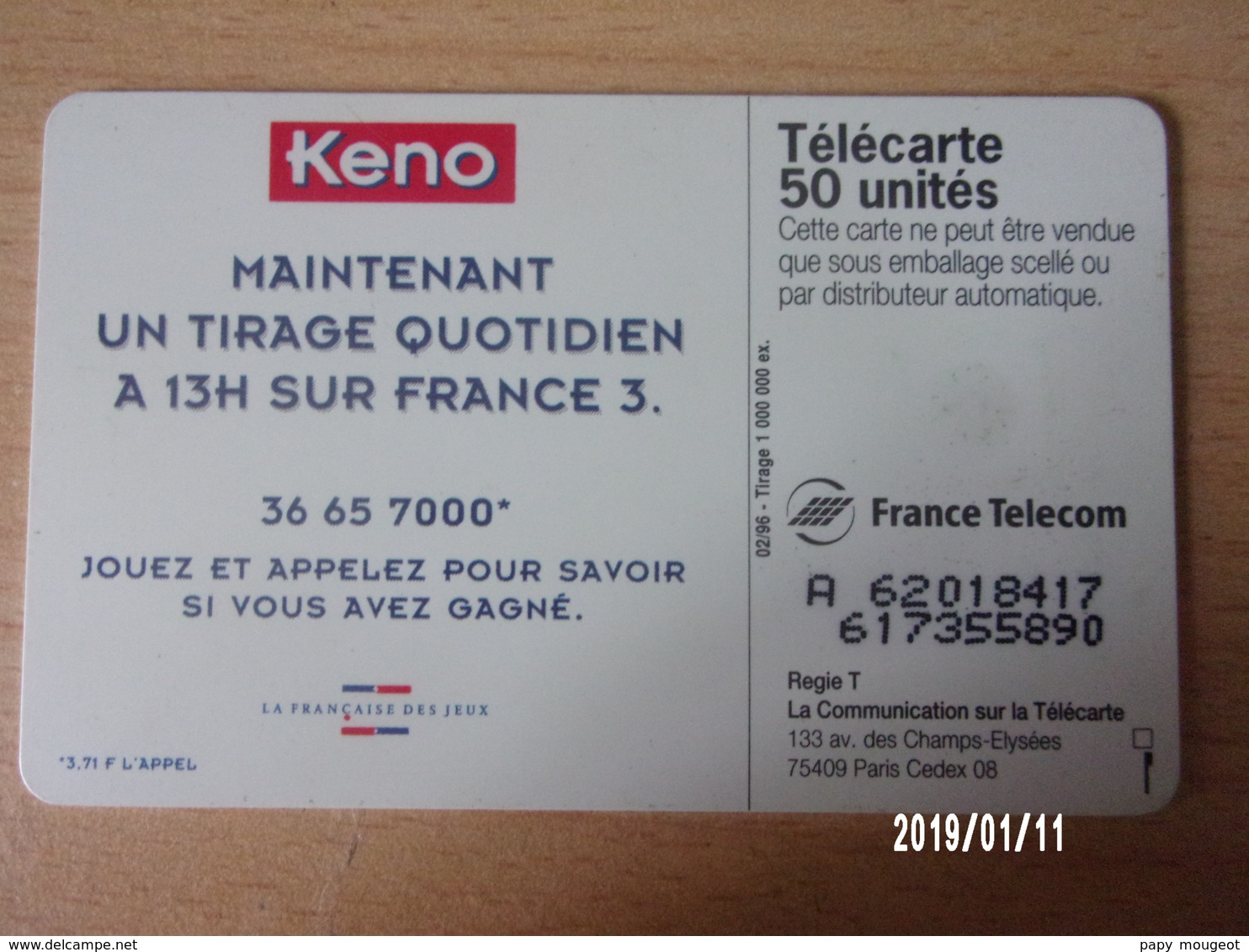 F624 50 02/96 S03 - KENO 96 - Jeux