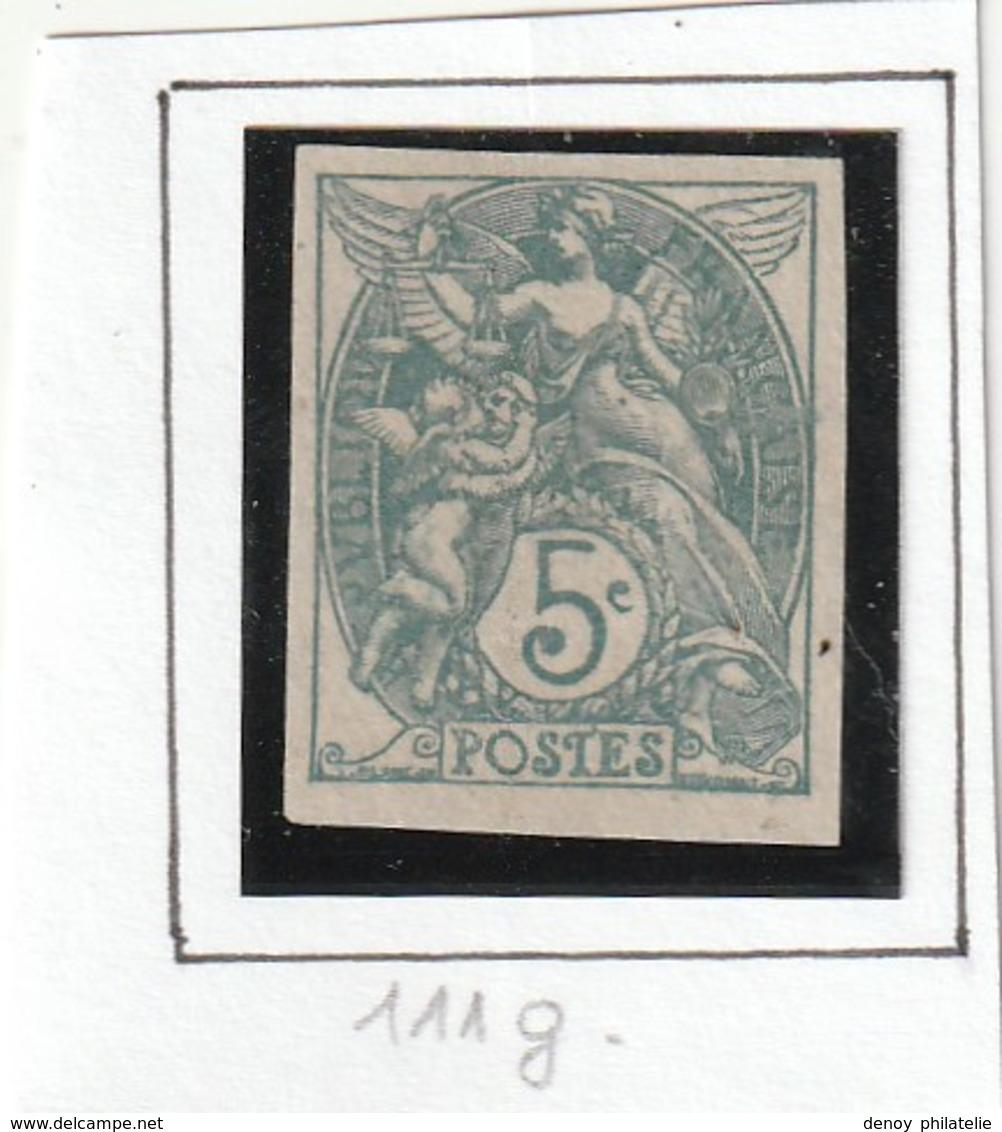France Non Dentelé Sans Charniére  N° 1011 5  Centime Type Blanc - Imperforates
