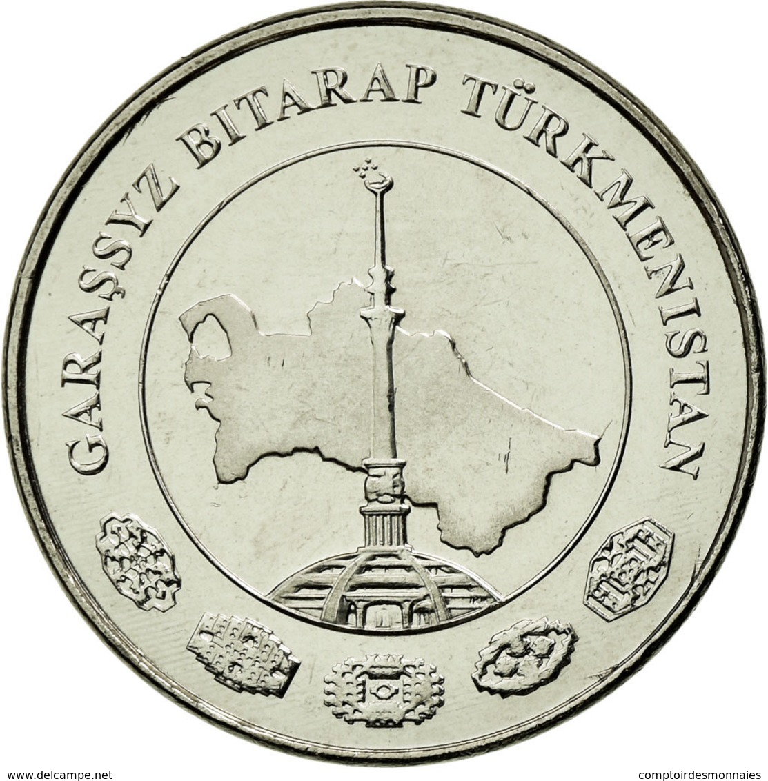 Monnaie, Turkmanistan, 5 Tenge, 2009, SUP, Nickel Plated Steel, KM:97 - Turkmenistán