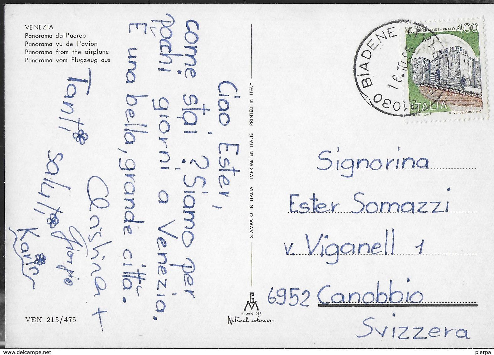 VENETO - VENEZIA - PANORAMA AEREO - VIAGGIATA DA BIADENE (TV) 1985 - Venezia