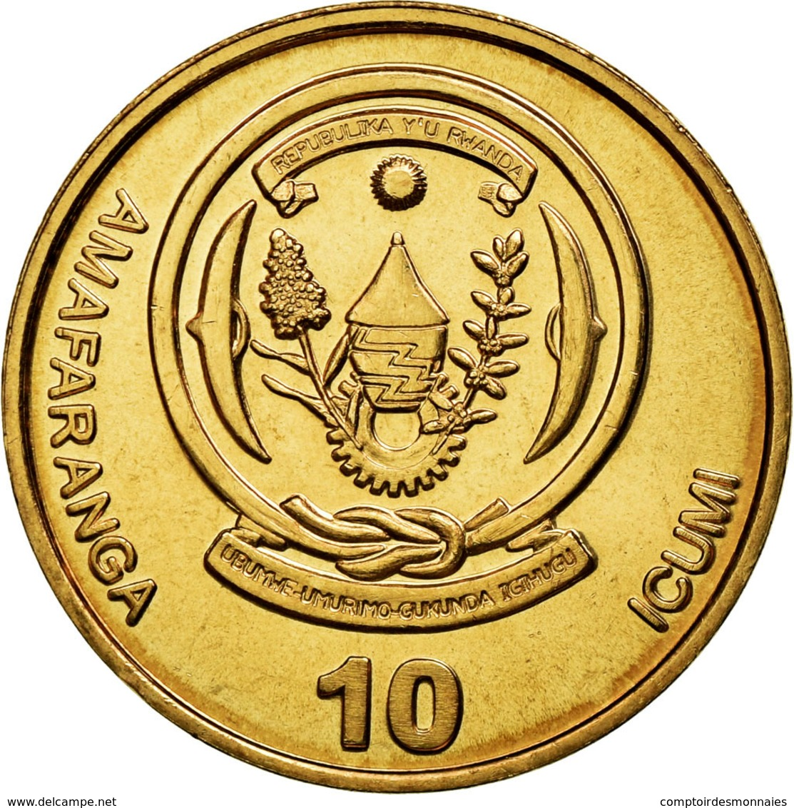 Monnaie, Rwanda, 10 Francs, 2003, TTB+, Brass Plated Steel, KM:24 - Rwanda