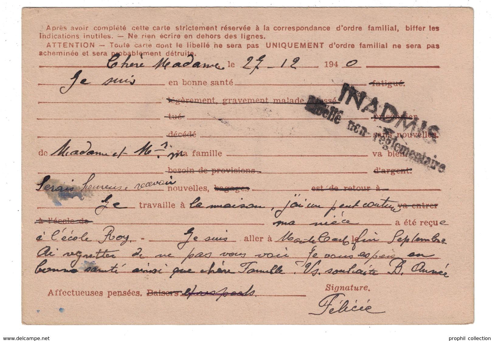 """1940 - GRIFFE """" INADMIS LIBELLÉ NON REGLEMENTAIRE """" RETOUR À L'ENVOYEUR RAE CARTE INTERZONE IRIS OMEC NICE  MAINNEVILLE - Marcophilie (Lettres)"""