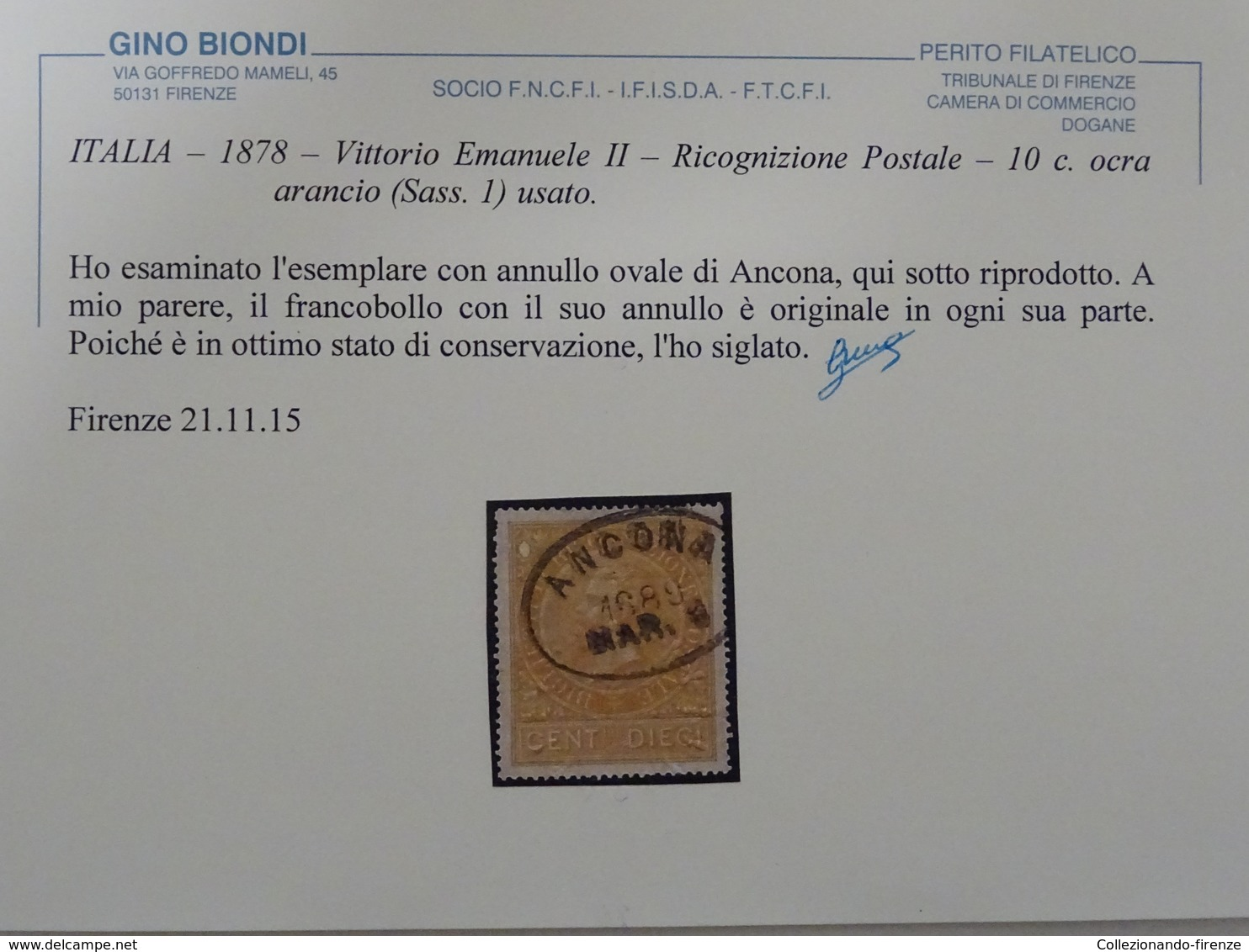 ITALIA – 1878 – Vittorio Emanuele II – Ricognizione Postale – 10c. Ocra Arancio (Sass. 1) Usato. - 1861-78 Vittorio Emanuele II
