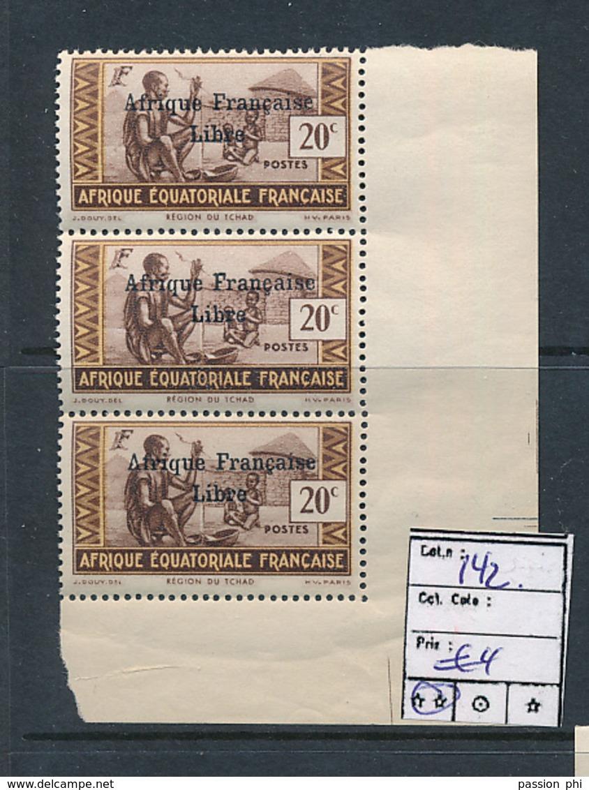 AEF FRANCE LIBRE MAURY DALLAY 142 MNH SANS CHARNIERE - A.E.F. (1936-1958)