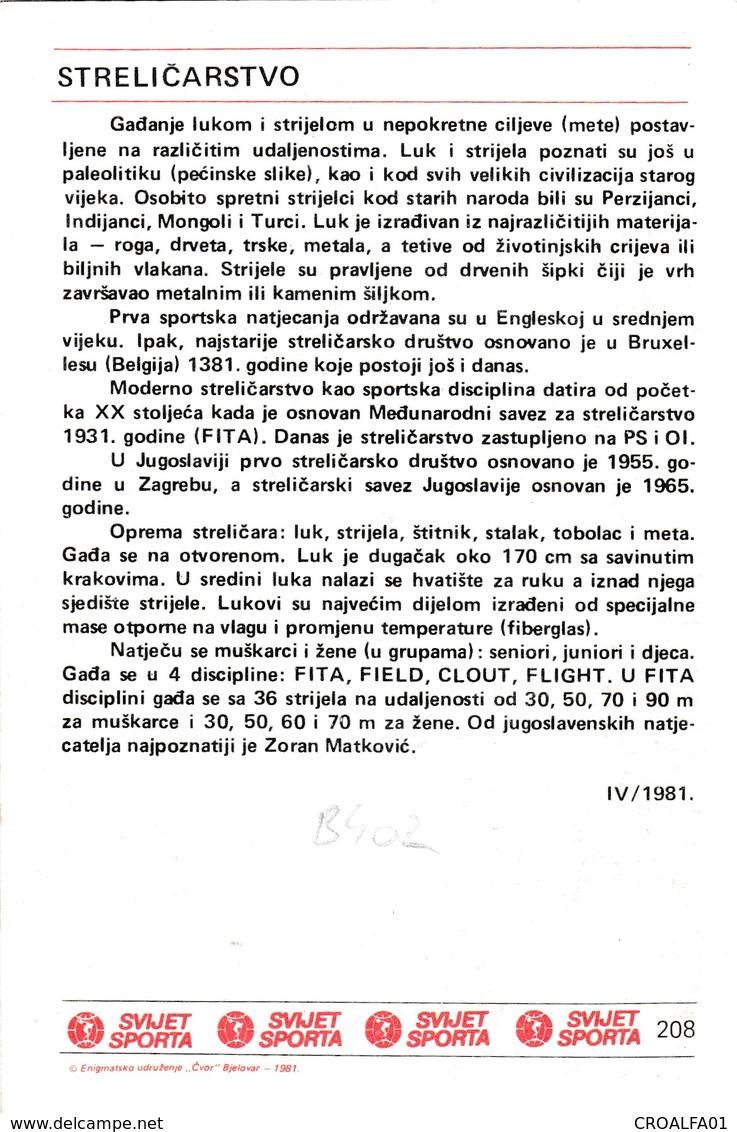 ARCHERY CARD-SVIJET SPORTA (B402) - Tir à L'Arc