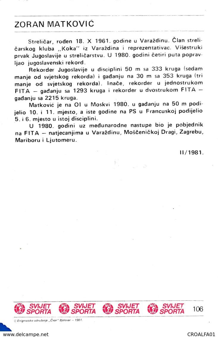 ZORAN MATKOVIC CARD-SVIJET SPORTA (B406) - Tir à L'Arc