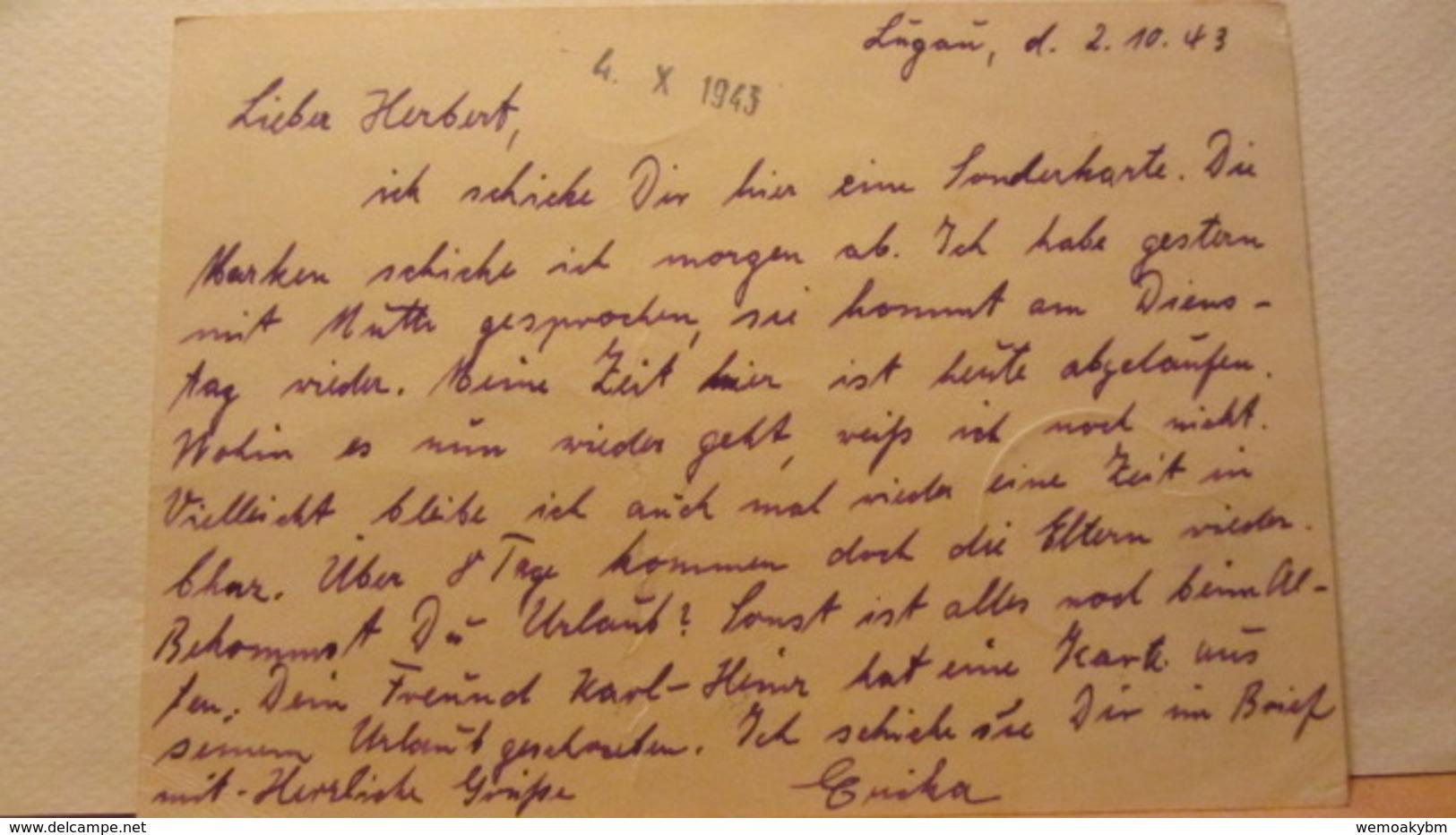 DR: GA  P 296 * Dt. Goldschmiedekunst 1943 Ritter Sankt Georgl Von Lugau (Erzg) Nach Milowitz B. Prag Vom 2.10.43 - Deutschland