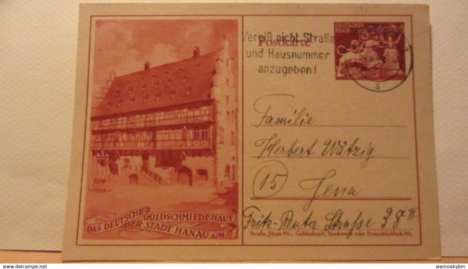 DR: GA  P 293 * Goldschmiedekunst Brautbecher Und Löwe Mit Bild Des Goldschmiedehauses Der Stadt Hanau A/M. Vom 24.4.44 - Briefe U. Dokumente