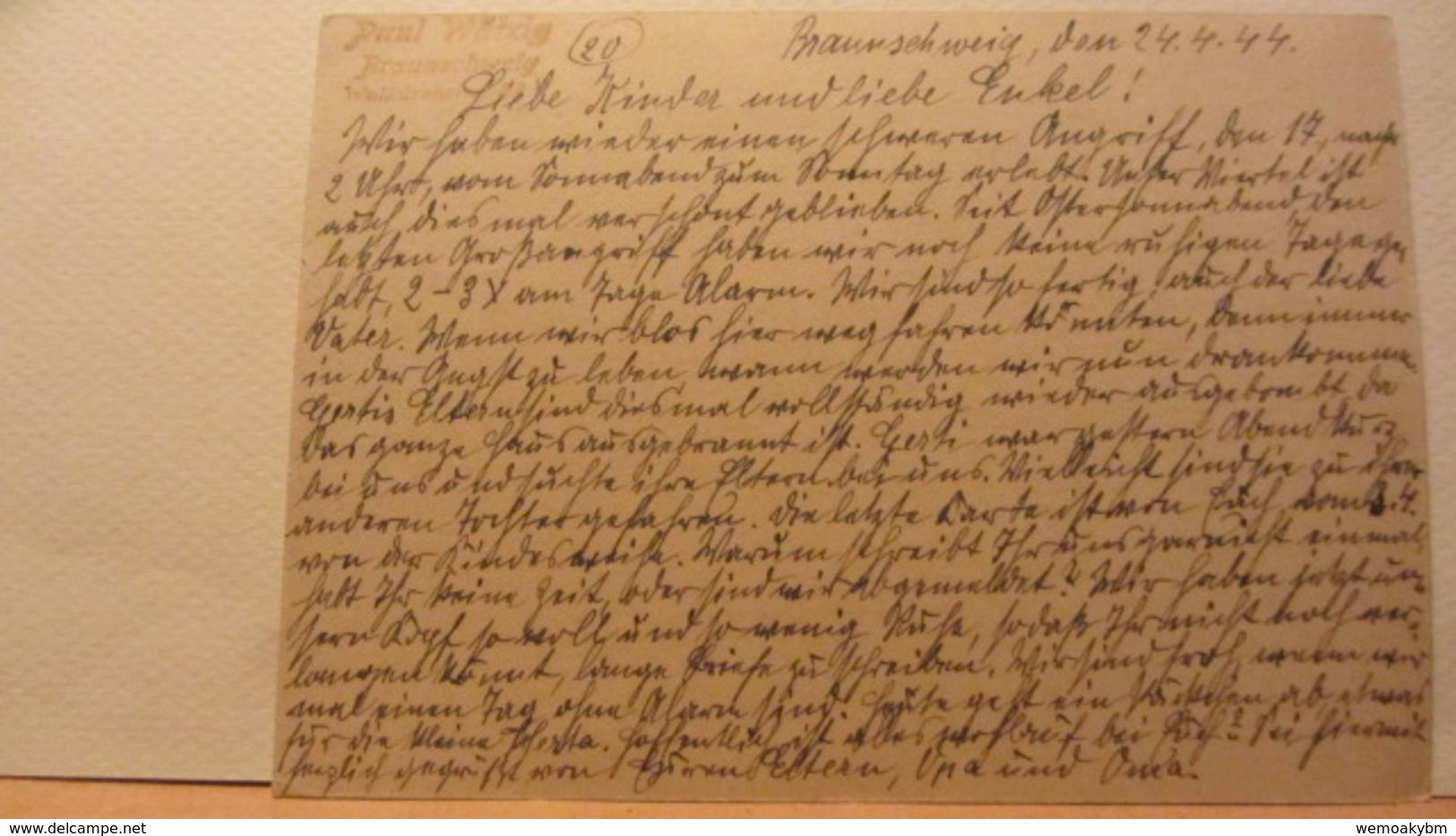 DR: GA  P 293 * Goldschmiedekunst Brautbecher Und Löwe Mit Bild Des Goldschmiedehauses Der Stadt Hanau A/M. Vom 24.4.44 - Deutschland