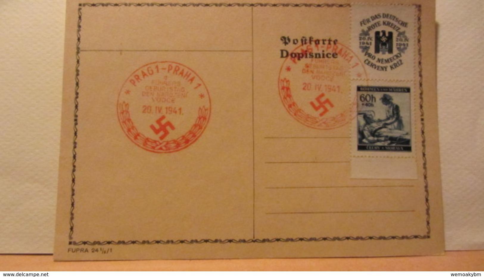 DR: Postkarte  Mit 60 H Böhmen Und Mähren Mit Rotem Geburtstagsstempel PRAG1-PRAHA1 Vom 20.4.41 Rotes Kreuz Zdr. - Deutschland