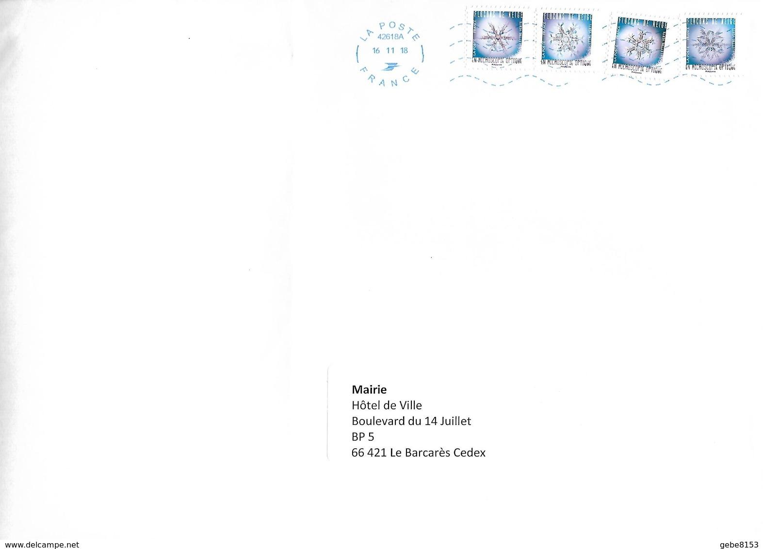 4 Timbres Du Carnet Flocons De Neige Microscope Optique + Neopost - France
