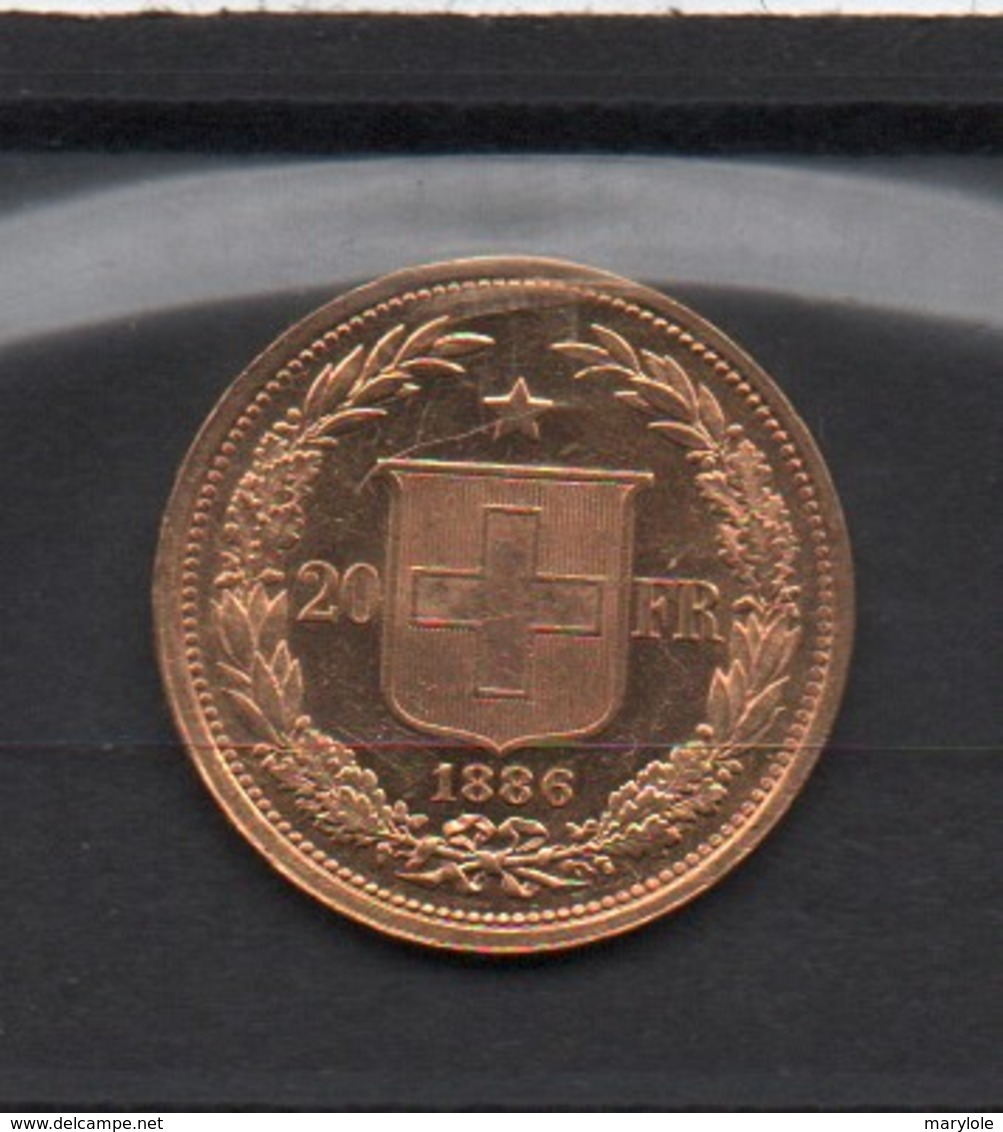SUISSE  -  20 F  Or  -  1886 - Suiza