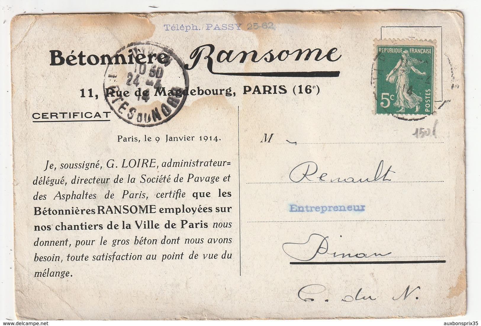 CARTE PUBLICITAIRE - PARIS - BETONNIERE RANSOME - 11 RUE DE MAGDEBOURG - 75 - France