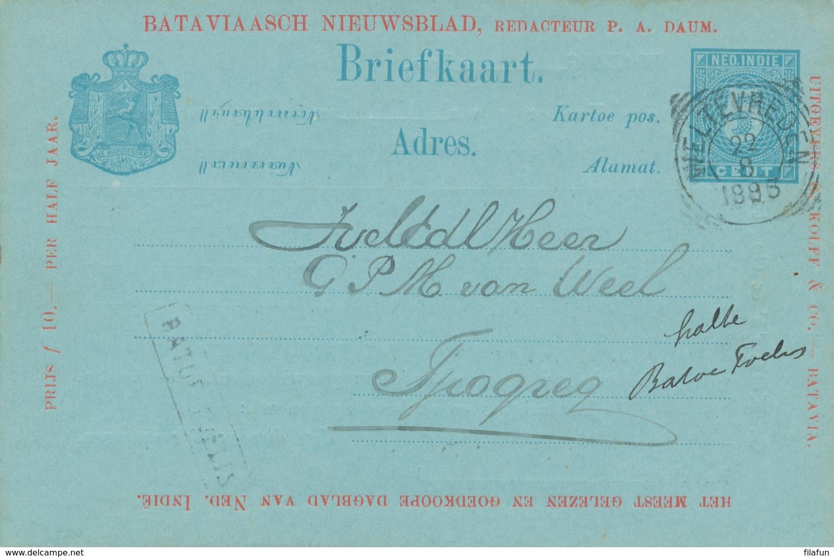 Nederlands Indië - 1893 - 5 Cent Cijfer, Briefkaart G10a Particulier Bedrukt Bataviaasch Nieuwsblad HALTE BATOE TOELIS - Indes Néerlandaises