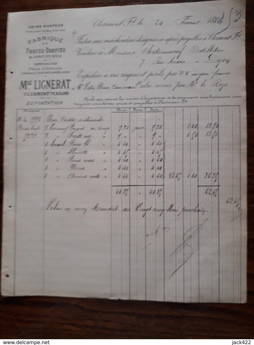 L12/28 Ancienne Facture. Fabrique De Fruits Confits Et Confitures. Mse Lignerat. Clermont Ferrand. 1886 - France
