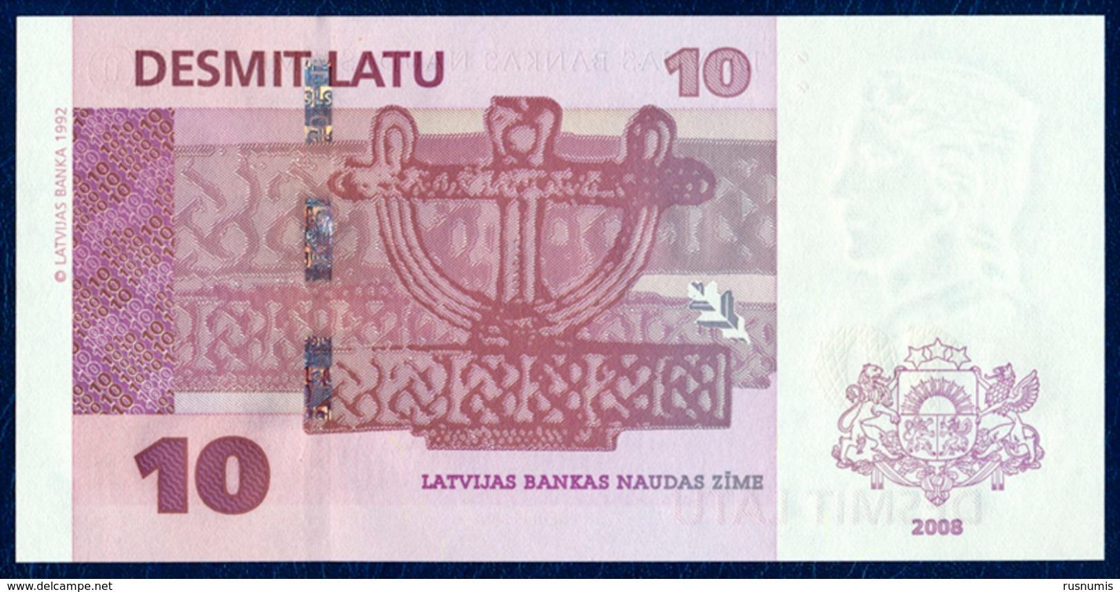 LATVIA - LETTONIE - LETTLAND - LETTONIA 10 LATU LATI PICK 54 DAUGAVA RIVER VIEW 2008 UNC - Latvia
