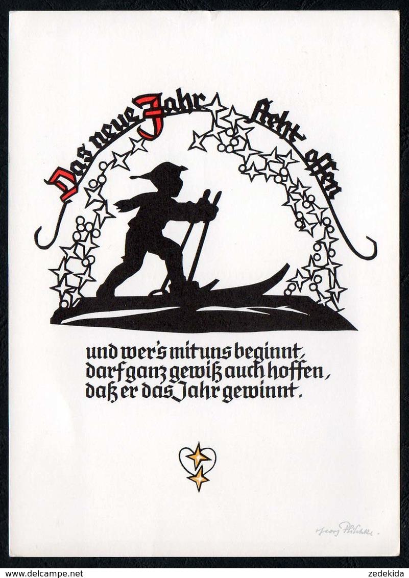 C1612 - Georg Plischke Glückwunschkarte - Klaus Pfleumer Zittau - Silhouettes