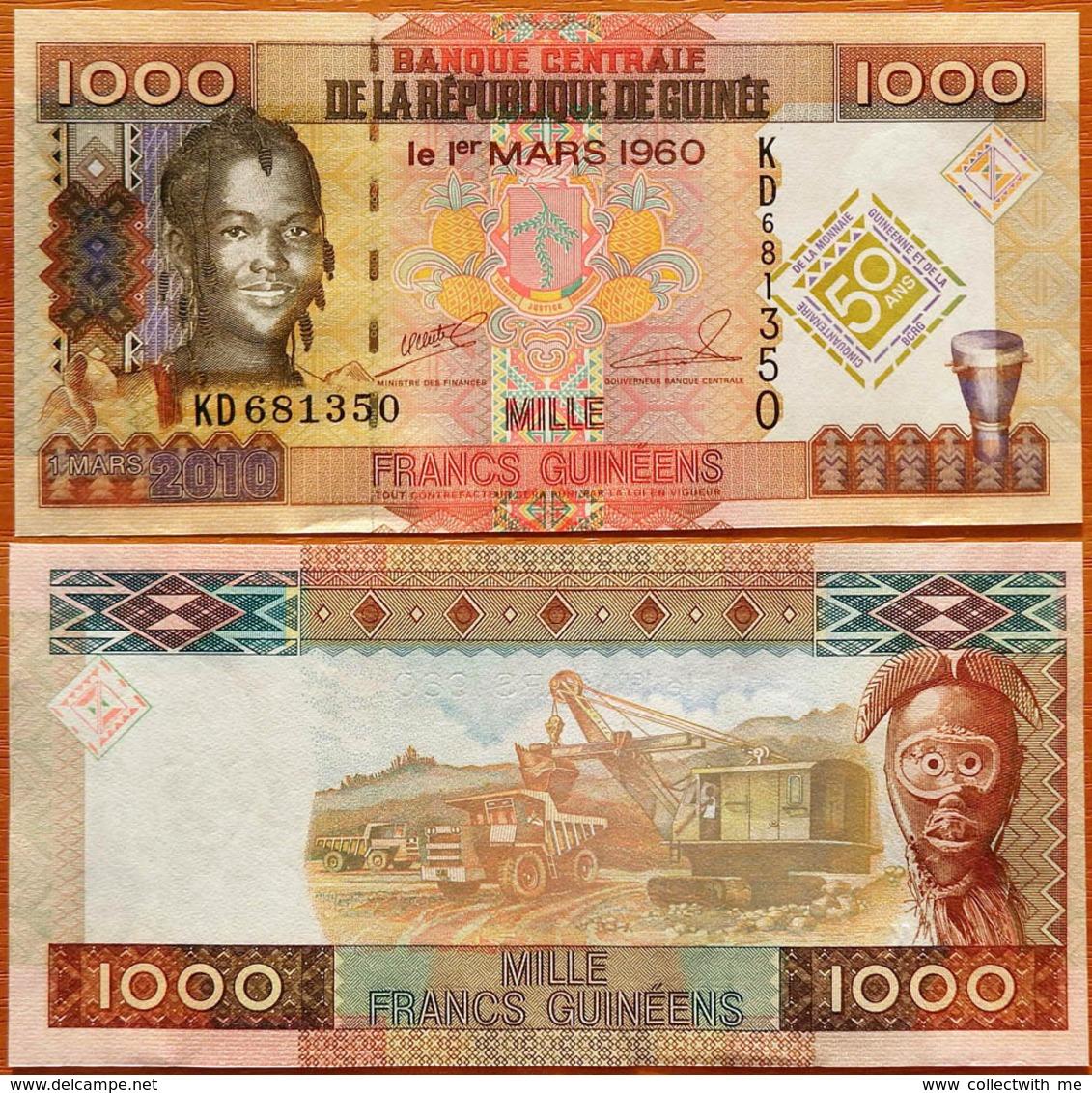 Guinea 1000 Francs 2010 UNC- 50 Years - Guinée