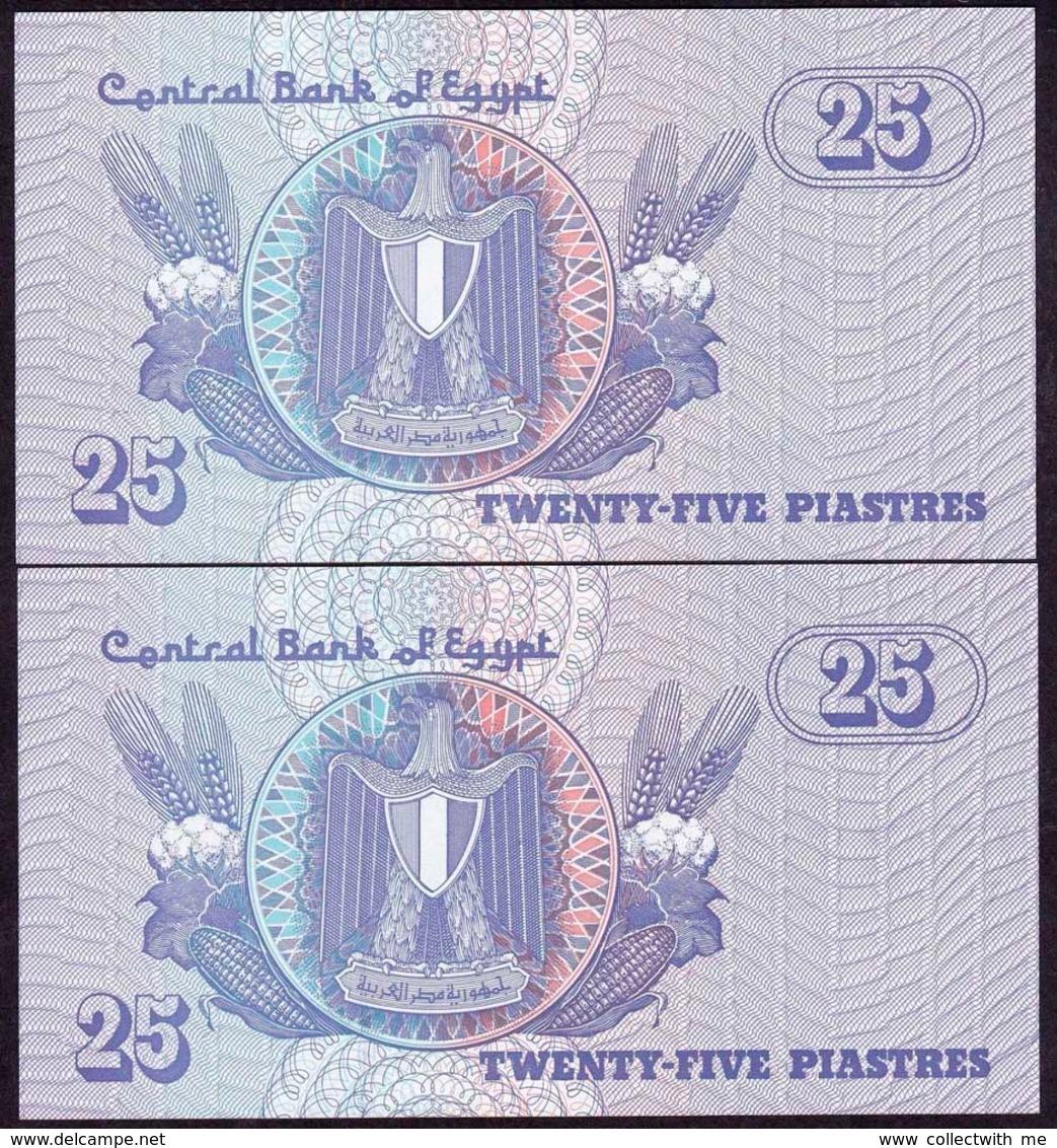 Egypt 25 Piastres 1987 UNC Replacement Prefix C/200 2 Banknotes - Egypte