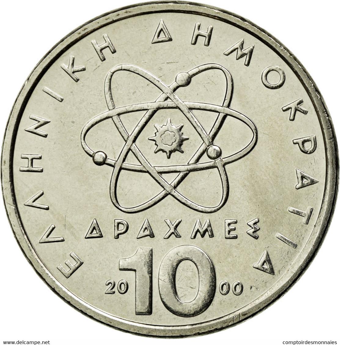 Monnaie, Grèce, Democritus, 10 Drachmes, 2000, SPL, Copper-nickel, KM:132 - Grèce